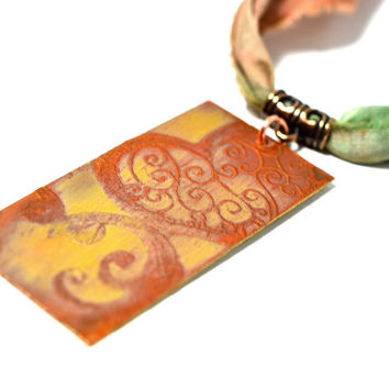 Heart Necklace, Etched Copper Jewelry, silk necklace, mothers day gift, bohemian necklace, copper necklace, original jewelry, gypsy boho