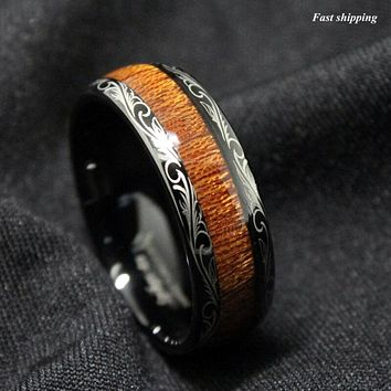 Black Tungsten carbide Ring Koa Wood Inlay Dome Wedding Band ATOP men's jewelry