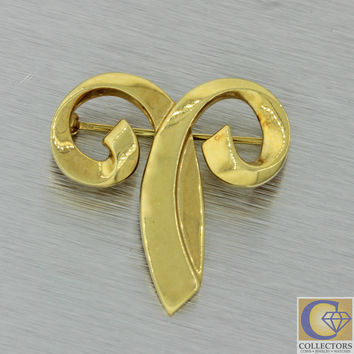 Vintage Estate Tiffany & Co Paloma Picasso 18k Solid Yellow Gold Brooch Pin