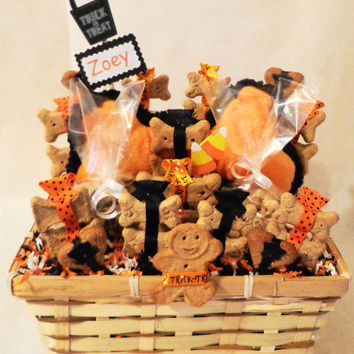 Halloween dog biscuit treat dog gift basket with squeak toy, unique gift, personalized, dog get well gift, dog birthday gift, new dog gift