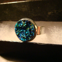 Victorian Style Faux Druzy / Drusy  Heart Ring in Silver - Adjustable (1094)