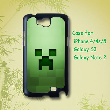 Minecraft Creeper - iphone 4 / 4S case , iphone 5 case , Samsung Galaxy S3 and Note 2 case in black or white