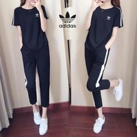 """Adidas"" Show Thin Women Casual Multicolor Stripe Short Sleeve Trousers Set Two-Piece Sportswear"