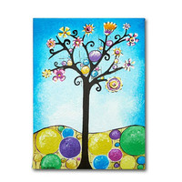 CIJ 15% Off Blue Nursery Tree Wall Art, Kids Room Art, Canvas Kids Art, Children Decor, Original Acrylic Painting, 12x16 christmasinjuly