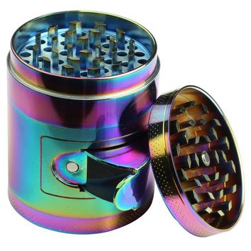 DCOU New Design rainbow Weed Grinder 2.2 Inches 4 Piece Tobacco Grinder with Pollen Catcher Durable Zinc Alloy Herb Spice Heavy Duty Grinder with scrapper and Easy Access Window