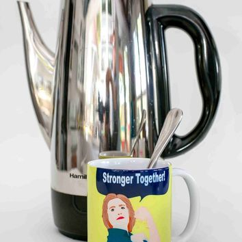 Hillary Clinton Stronger Together Mug - Illustrated in the USA