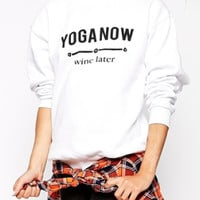 White Printed Long Sleeve Sweatshirt