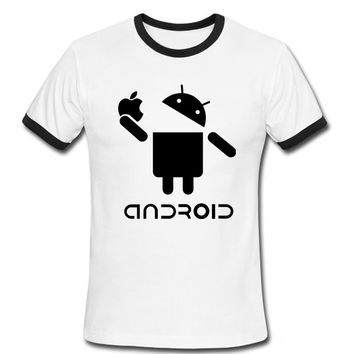 Stylish Man T Shirts Android Robot Male t-shirt apple humor logo printed funny t shirt short sleeve Round Neck Ringer Tees