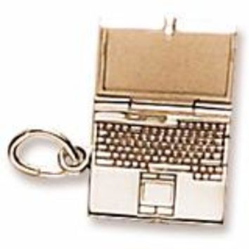 Laptop Computer Charm in Yellow Gold Plated