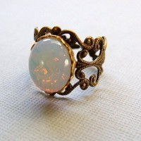 White Opal Ring On Antiqued Brass Filigree