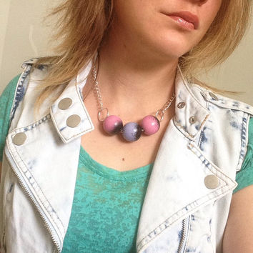 Handpainted bead necklace, Large bead necklace, Painted bead necklace, painted beads, Wooden bead necklace, Handmade beads