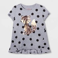Girls' Fox Polka Dot Graphic Tee - Cat & Jack™ Heather Gray