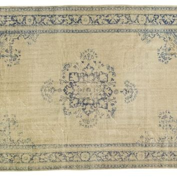6.5x9.5 Vintage Distressed Oushak Carpet