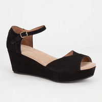 Toms Womens Platform Wedges Black  In Sizes