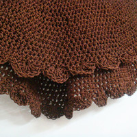Round Crochet Rug Carpet in Brown