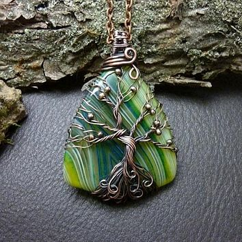 Lime Green Agate Tree of Life Wire Wrap