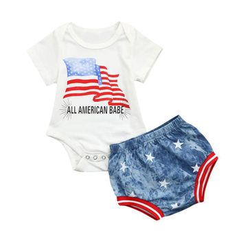 "2pcs Baby Girls ""All American Babe"" 4th Of July Outfit"