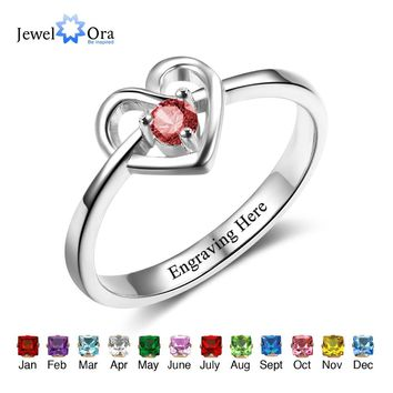 Promise Engagement Rings DIY Custom Birthstone Engrave Name Love Heart Rings For Women Free Gift Box (JewelOra RI102498)