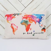 Go Find Yourself Painted Earth Pillow | Altar'd State