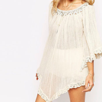Nusa Dua Dress,Coachella Dress, White Tunic, Gypsy Dress, Oversized Top, Beach Cover Ups, what to wear to coachella 2016, etsy coachella,