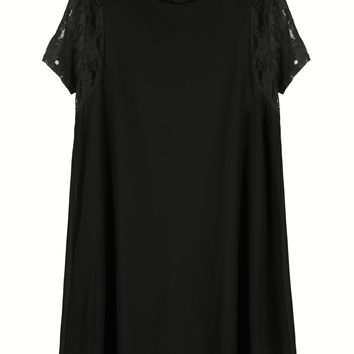 Black Lace Sleeves Keyhole Back Chiffon Dress