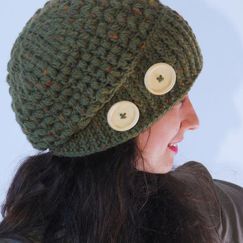 Crochet green beanie hat, big wood buttons decoration, woman accessories, crocheted winter wool hat, fall winter fashion, slouchy ribbed hat