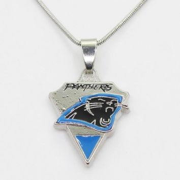 New Arrival 10pcs/lot Carolina Panthers Football Team  Necklace Pendant With 50cm Chains Necklace DIY Jewelry Sports Charms