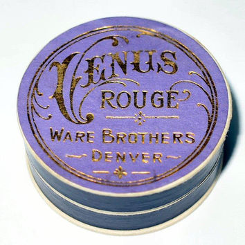 Antique Purple VENUS Rouge UNUSED Makeup 1900s Art Nouveau Powder Box Tin RARE Small Vintage Vanity Beauty Collectible Powder Collector Gift