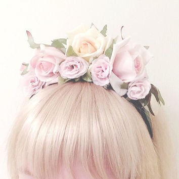 Pastel Rose Floral Headband - Pastel Flower Crown - Fairy Princess Headband - Pastel Grunge - Pastel Goth - Kawaii - Rose Headband