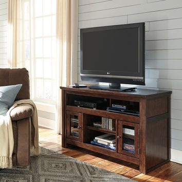 Ashley Furniture W797-28 Harpan ii collection traditional style reddish brown finish wood tv stand