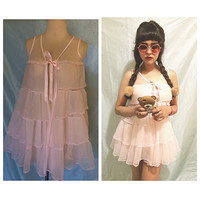 Adorable 1960s 60s Laura Dare cotton candy ruffle babydoll slip lolita pinup