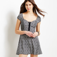 Aeropostale  Geo Smocked Cap-Sleeve Dress - Black, X-Small