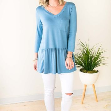 Ruffle Bliss Front Pocket Tunic - Blue