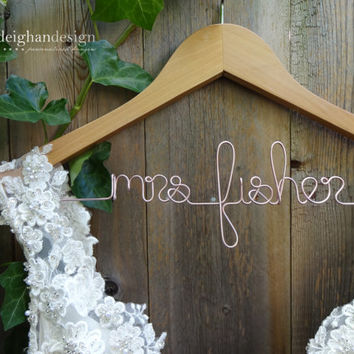 SALE Wedding Dress Hanger, Bride Hanger, Last Name Hanger, Mrs Hanger, Wedding Hanger, Personalized Hanger, Bridesmaid Bride Gift