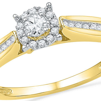 10kt Yellow Gold Womens Round Diamond Solitaire Bridal Wedding Engagement  Ring 1 6 Cttw 100460 477fdb76b6