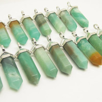 Dead Stock 1PC Natural Gemstone Blue Amazonite Point Pendulum Pendant Healing Crystal Point Pendulum Party Memory Gift