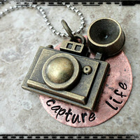 Capture Life Hand Stamped Camera Charm Necklace Copper and Ball Chain Necklace Pendant
