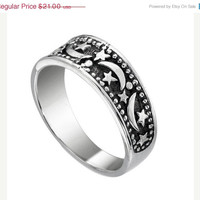 Star Moon Band Sterling Silver Ring