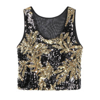 Black-Gold Crop Tank Top With Sequins