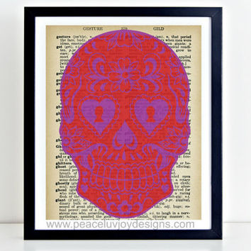 Printable Art, Dictionary Art, Sugar Skull, 8x10, Instant Download, Day Of The Dead, Dictionary Book Page, Dictionary Printable