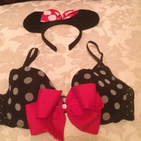 Sexy Black Polka Dot Mini Mouse Club or Rave Bra Size 34B