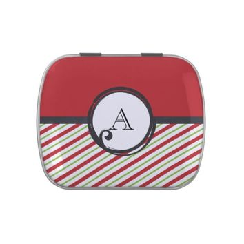 Red And Green Stripes With A Monogram In A Circle Candy Tins