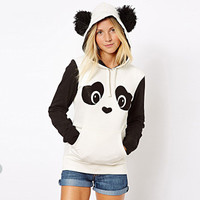2016 Trending Fashion Women Cute Panda Black and White Hoodie Top Blouse Shirt _ 3359