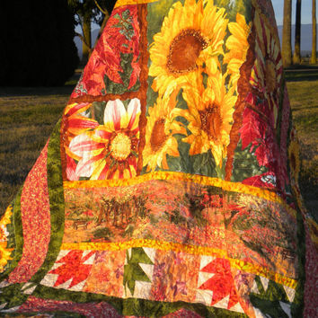 "Sunflower Quilt, Fall Colors Quilt, Twin Bed Quilt, Green and Yellow Quilt, 71"" x 82"", Sofa Throw, Sunflower Throw Quilt, Sunflower Blanket"