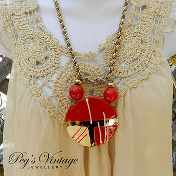 Unique Vintage D'Orlan Gold Plated Necklace//Red And Yellow Enamel Large Pendant