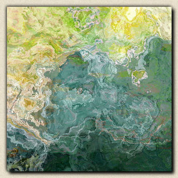 """Contemporary art abstract giclee canvas print with gallery wrap, 24x24 in blue, green and aqua, from abstract painting """"Sea Side"""""""