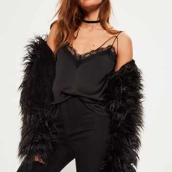Missguided - Black Satin Lace Trim Harness Cami Top