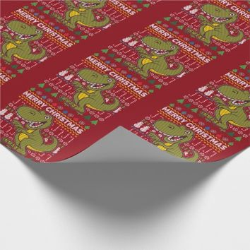 Green Dino Ugly Christmas Sweater Wildlife Series Wrapping Paper