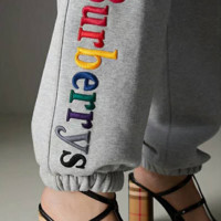 Burberry  letter logo rainbow embroidered casual women's pants