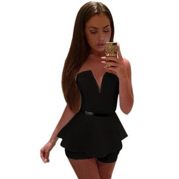 Urparcel Womens Jumpsuit V Neck Strapless Party Dress Bodycon Romper Shorts